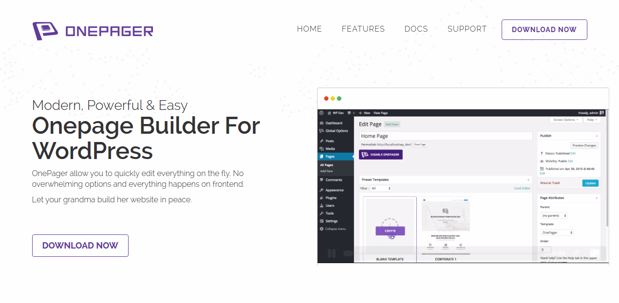 Introducing Onepager - First cross platform onepage builder