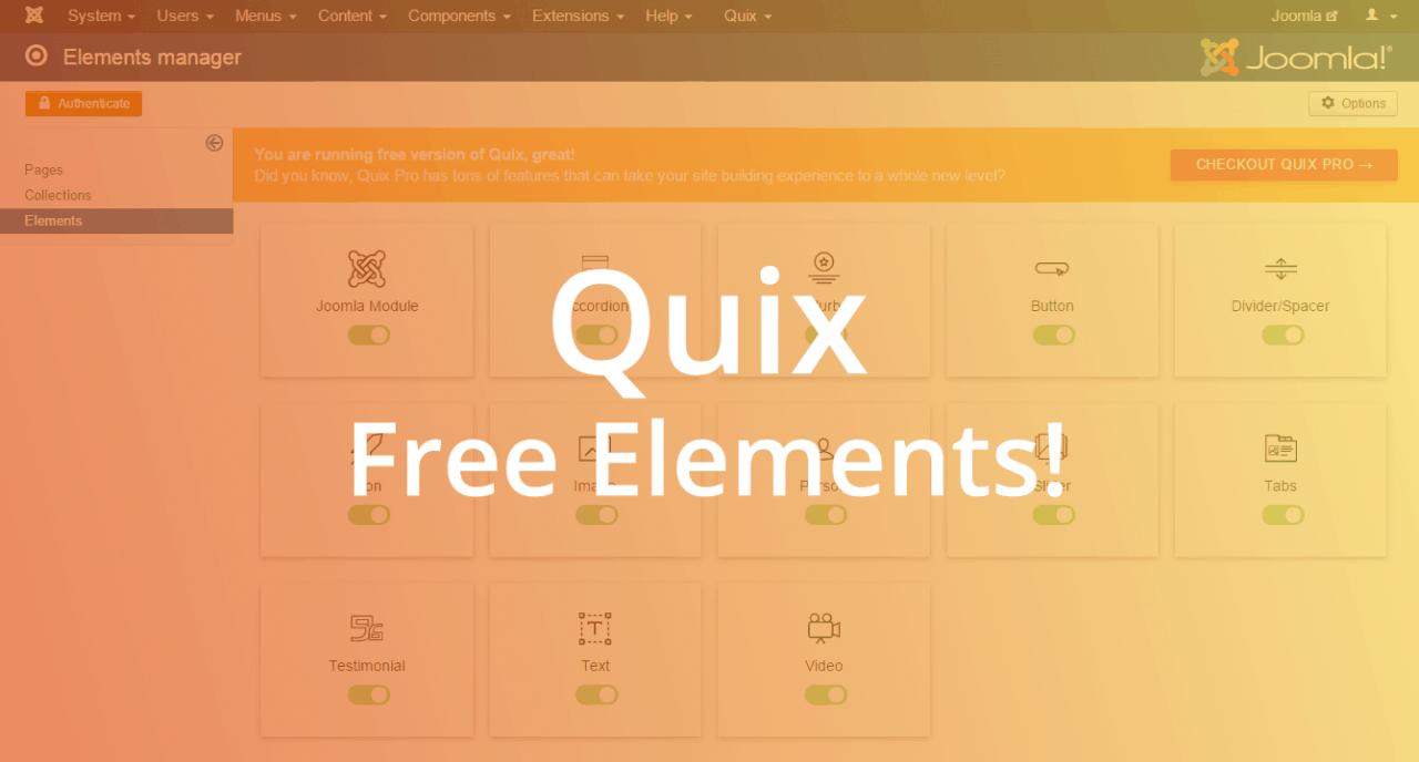 Quix Free Elements