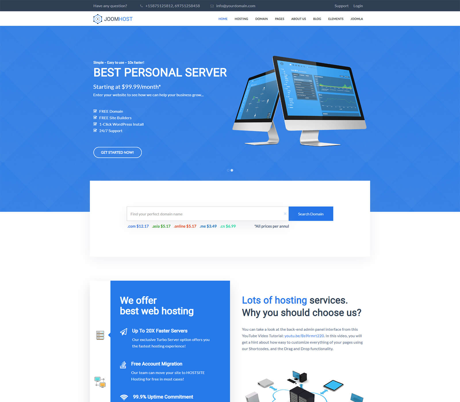 Joomhost Best Joomla Hosting Template With Wmchs Layout Themexpert