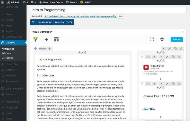 WordPress Course Management