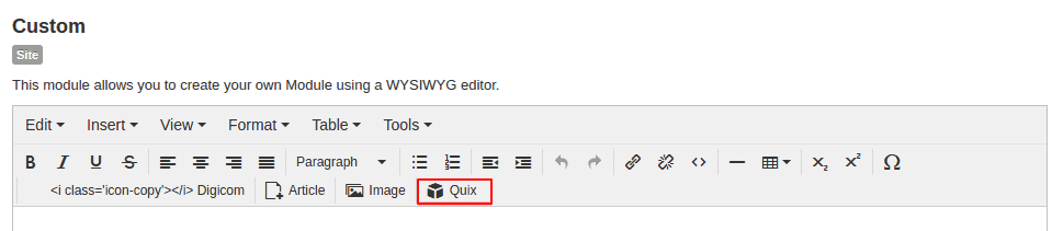Quix button in joomla editor