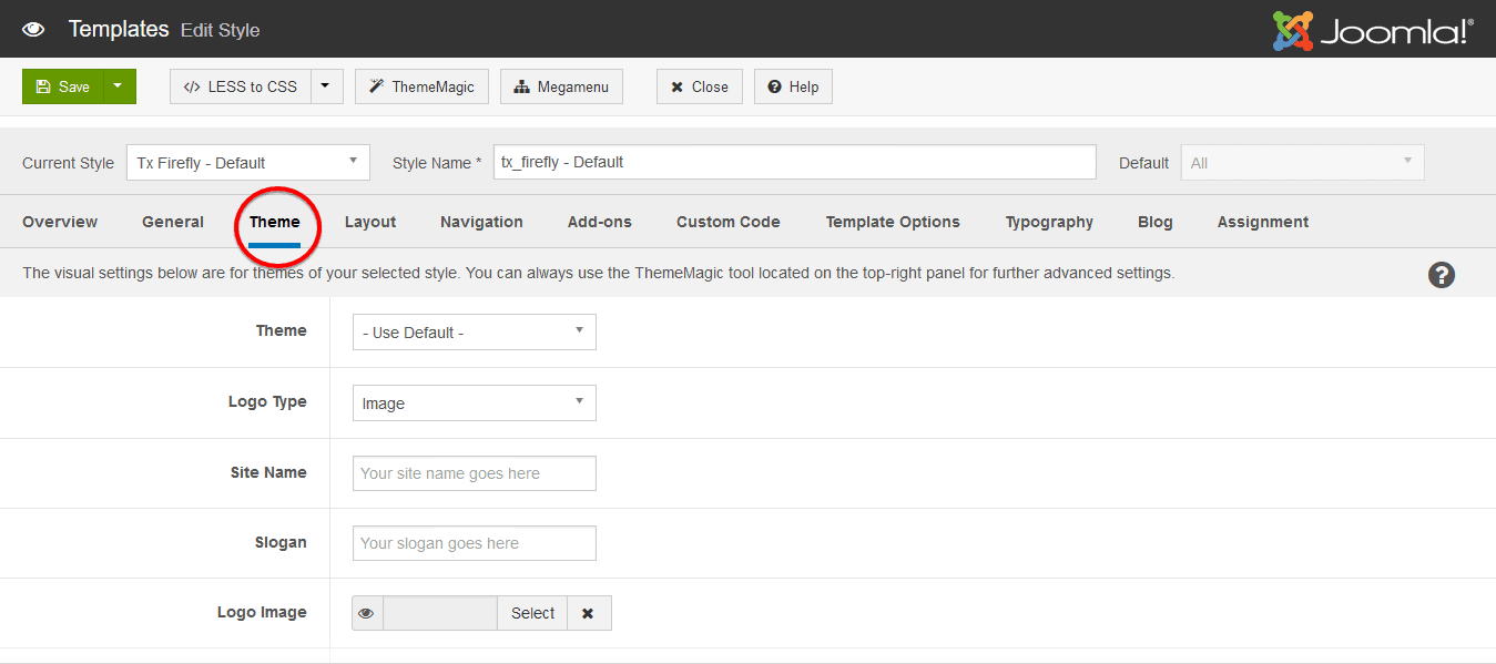 T3 Theme settings