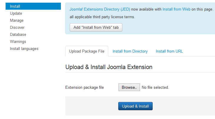Joomla Template/Extension installation