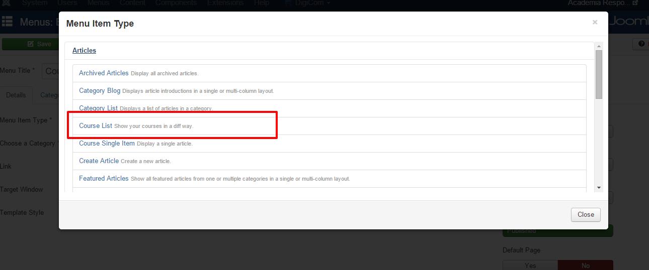 Courselist create menu