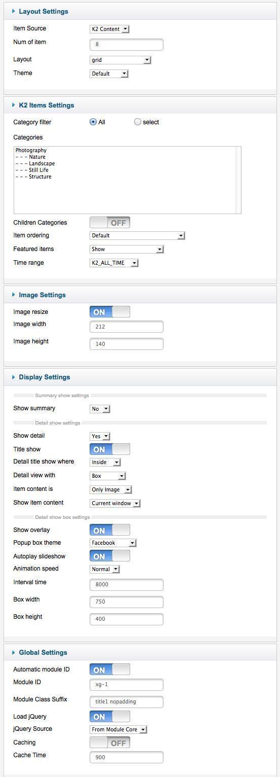 Xpert showcase settings