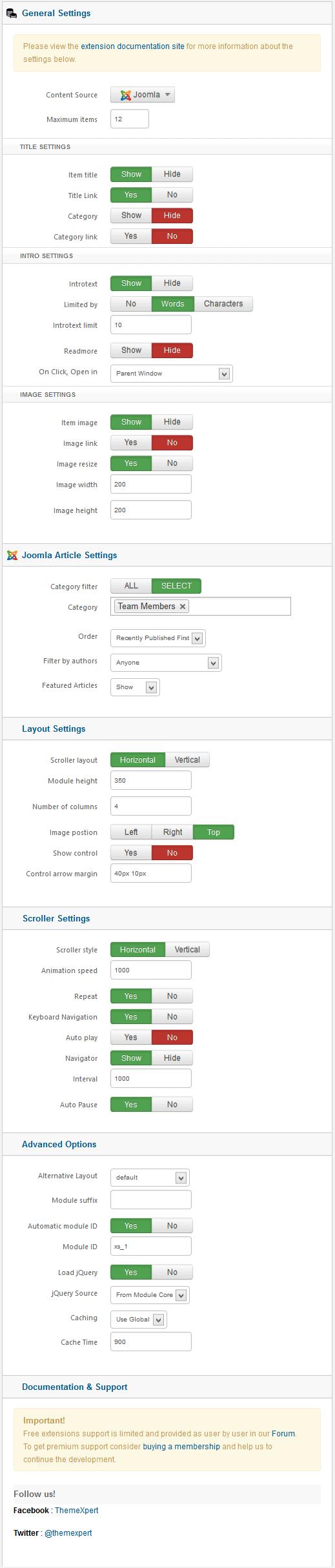 scroller settings