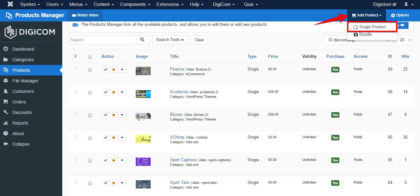 Add Products on DigiCom