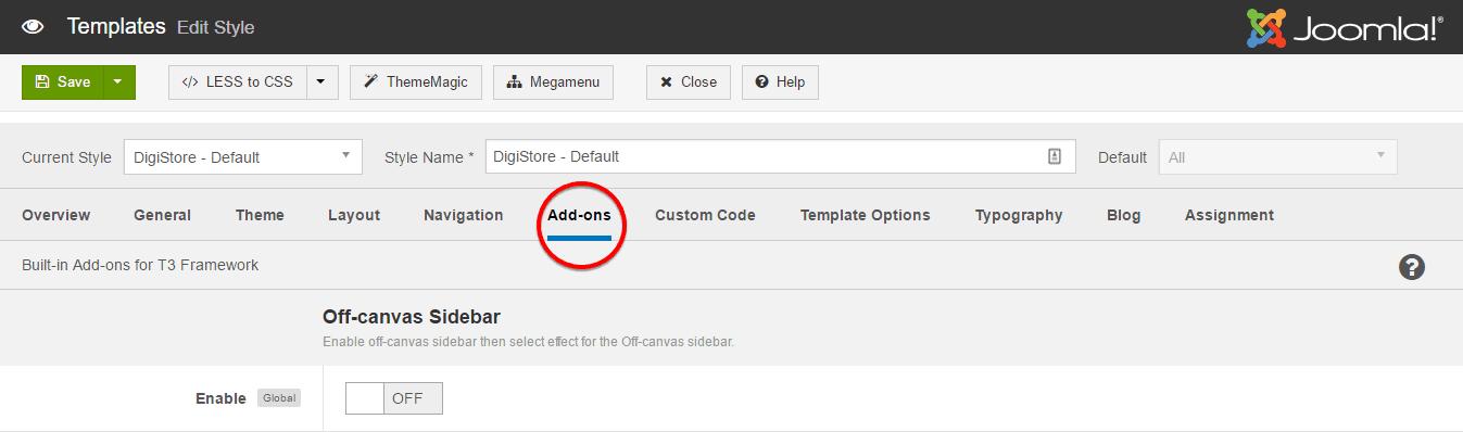T3 Add-ons settings