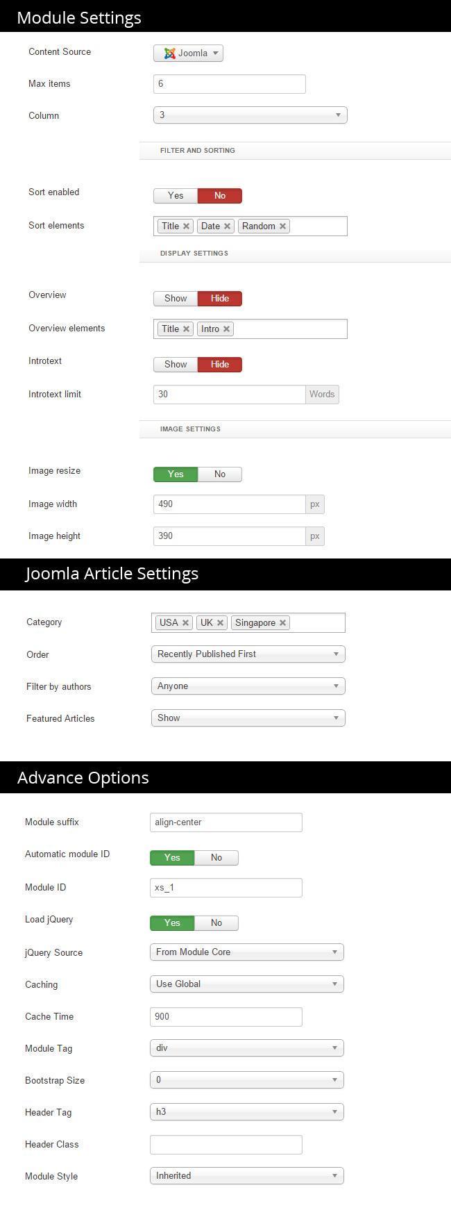 Xpert Gallery settings