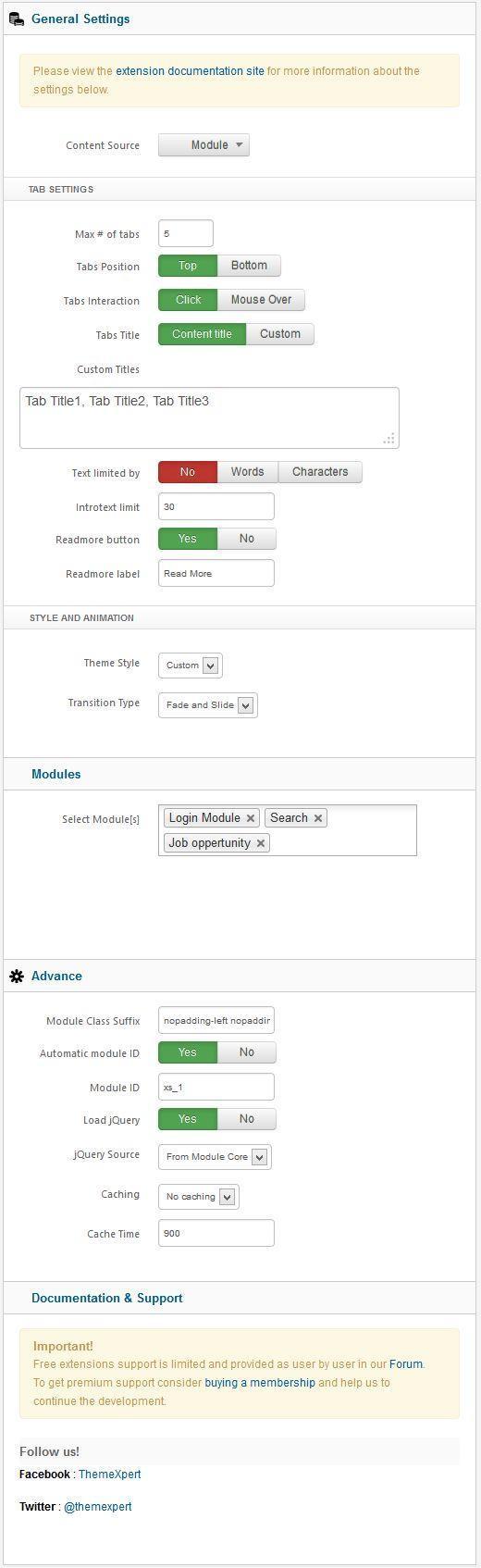 Xpert Tabs settings