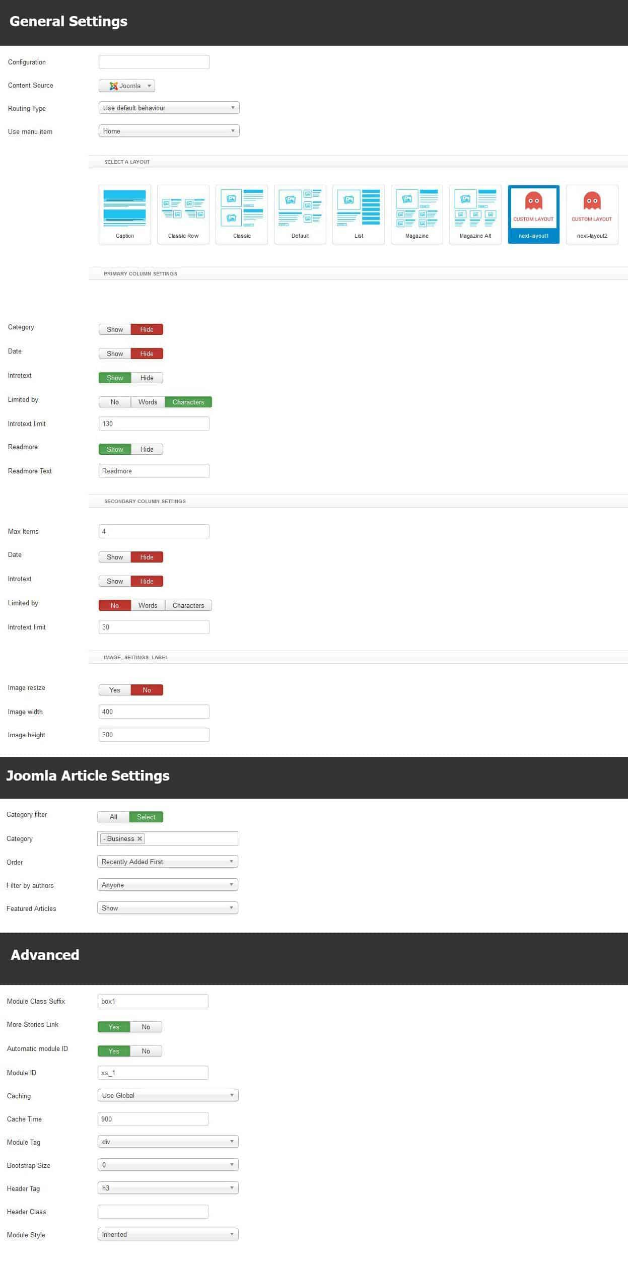 Business module settings