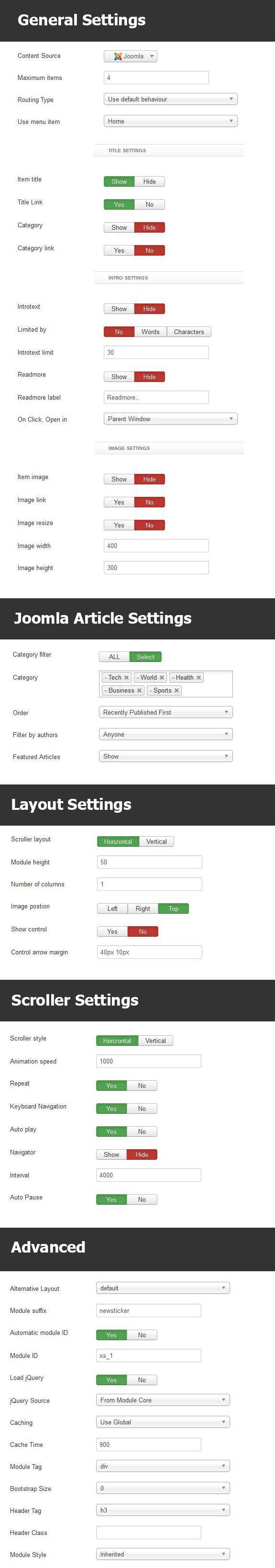 Newsticker Module Settings