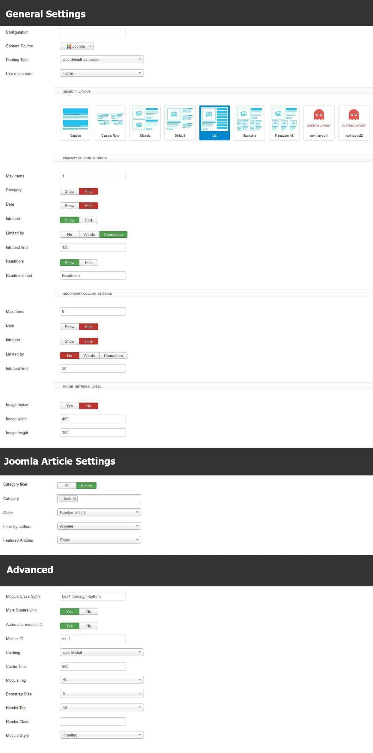 Tech News Module settings