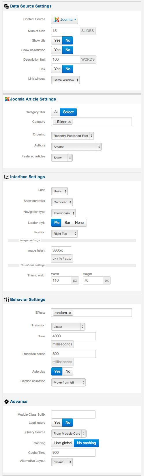 xpert slider settings