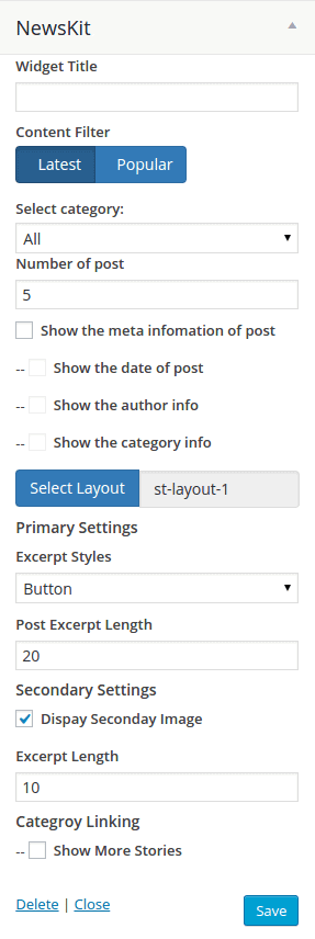NewsKit settings